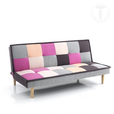 Smart sofa bed by Tomasucci covered in multicolor fabric and solid beech-colored feet