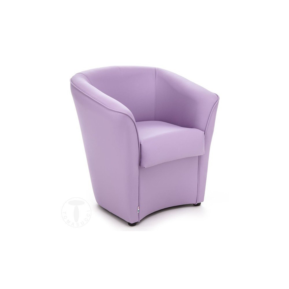 Vanessa armchair by Tomasucci with wooden structure and synthetic leather upholstery in 7 different colors