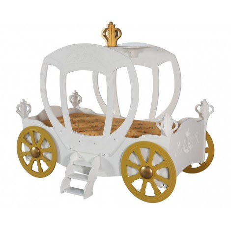 Letto a forma di carrozza in mdf per bambine con rete e materasso mod PRINCESS CARRIAGE