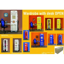 Gas station-shaped wardrobe with built-in desk