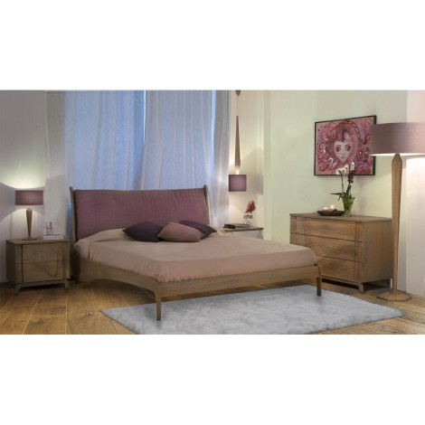 Loto Fiori double bed in oak, headboard panel in oak veneered plywood