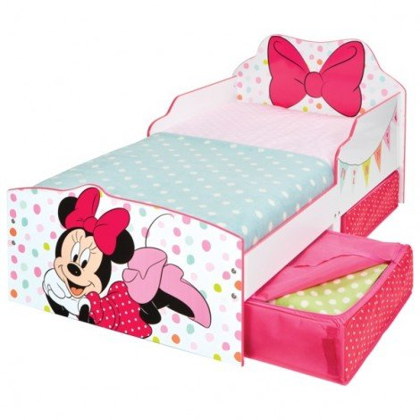 Cot with Minnie headboard in MDF and raised edges for fall protection