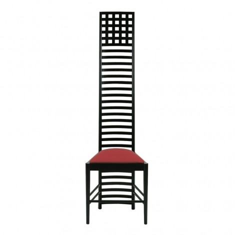 Reproduction of the Mackintosh Hill House chair in solid wood with padded seat covered in leather or fabric in various colors