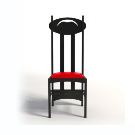Reproduction of the chair Argyle chair by Mackintosh in black stained ash and seat covered in fabric or leather