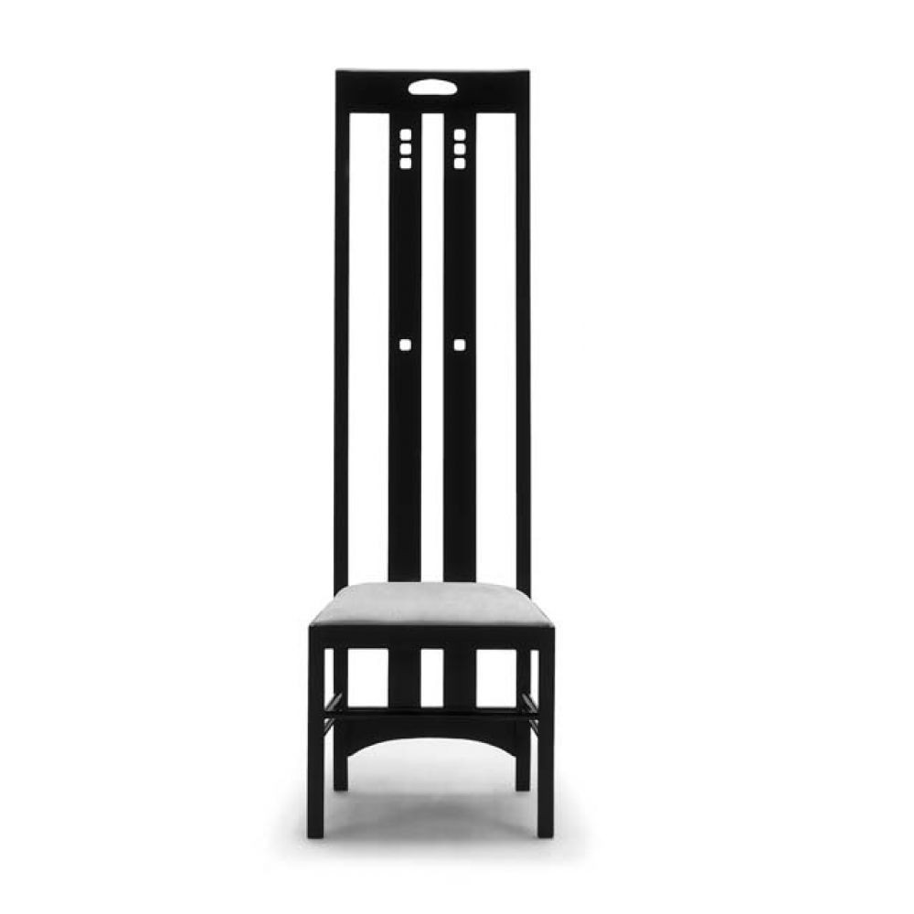 Redesign of the Ingram chair by Mackintosh in black open pore lacquered ash, seat in leather or fabric in various colors
