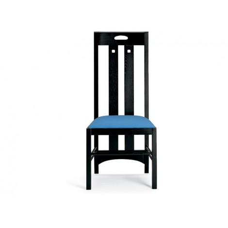 Reproduction of Mackintosh's Ingram Bis chair with lacquered ash structure and padded seat covered with leather or fabric