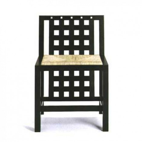 Reproduction of Basset Lowk chair by Mackintosh in black ash wood with or without armrests