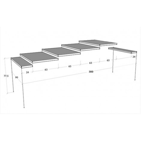 Big Due extendable console with metal stem and wooden structure available in 3 different finishes