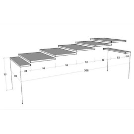 Holland extendable wooden console and aluminum frame extendable up to 308 cm with 5 extensions
