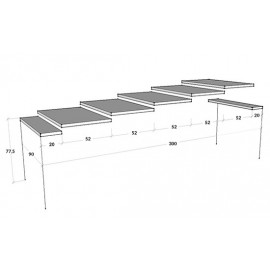 Imperial extendable console with metal frame and legs and wooden top