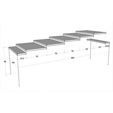 Ginevra extendable console with metal frame and wooden structure. Available in 2 finishes
