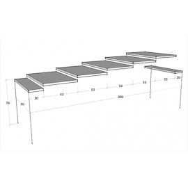 Extendable console Diago with telescopic metal structure and 5 wooden extensions