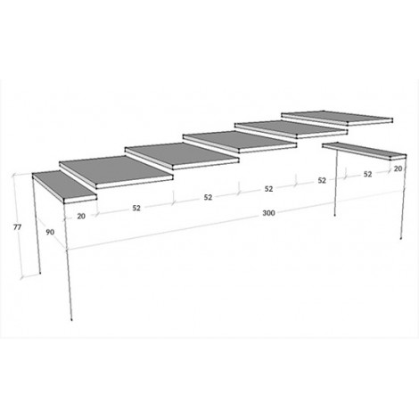 Epoca Extendable Console with metal structure and wooden top available in two different finishes