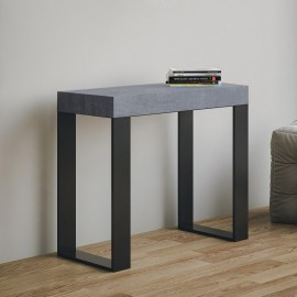 Tecno extendable console with metal structure and foldin-worked wooden top