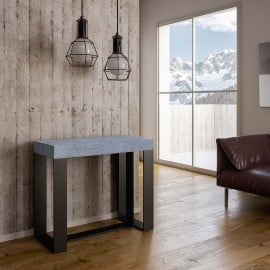 Futura extendable metal console with ennobled wooden top and telescopic structure