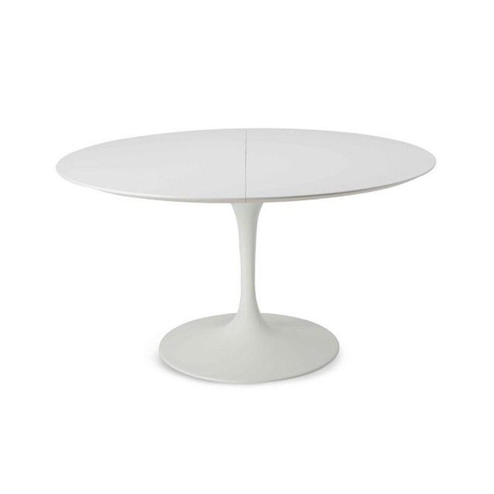 Reproduction of Saarinen Tulip table with round base and extendable top in white or black laminate