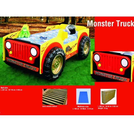 Lettino per bambino MONSTER TRUCK in mdf