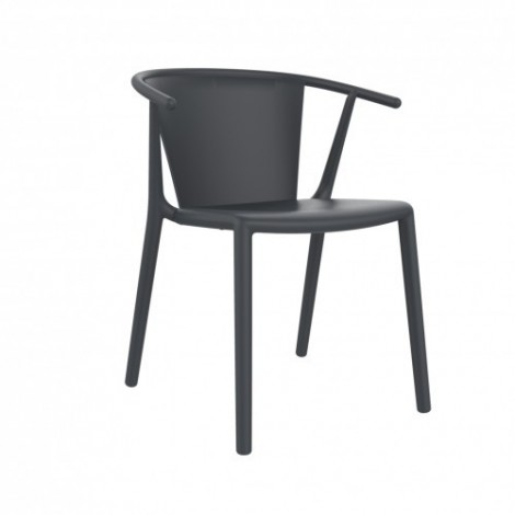 Steely outdoor chair in polypropylene and glass fiber available in various finishes and stackable