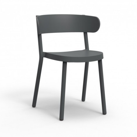 Casino chair for outdoor or indoor use in stackable polypropylene available in several colors