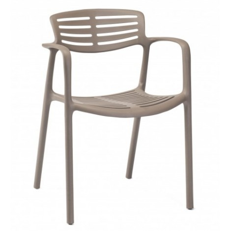 Toledo Aire outdoor chair in stackable polypropylene with armrests available in 5 colors