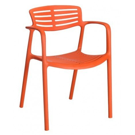 Toledo Aire stackable polypropylene outdoor chair with armrests available in 5 colors
