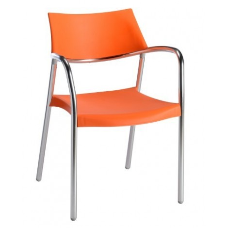 Stackable Splash outdoor chair with anodized aluminum structure and polypropylene shell