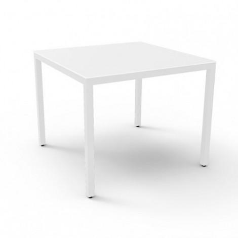Barcino Compact square and stackable outdoor table in polished aluminum available in two finishes