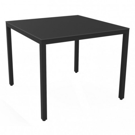 Barcino Compact square and stackable outdoor table in liquid painted aluminum available in two finishes