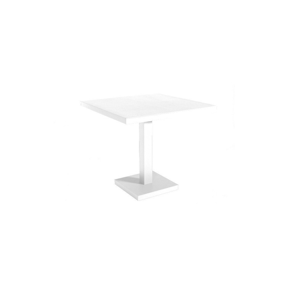 Barcino Quadrato outdoor table with central square leg and aluminum top available in three colors