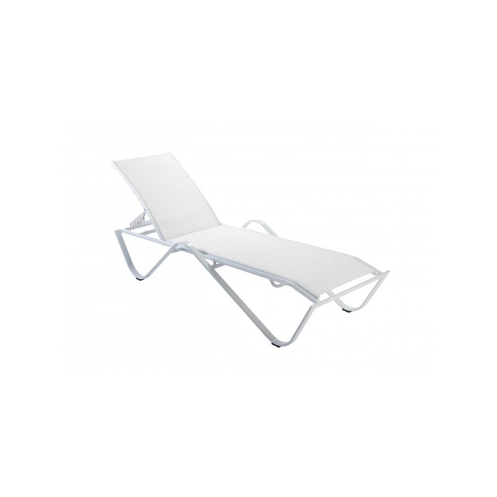 Sand sunbed in powder coated white matt aluminum and white fabric with 5 inclinations