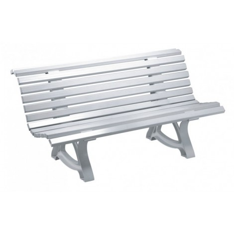 Apolo outdoor bench in opaque white polypropylene suitable for private or public gardens