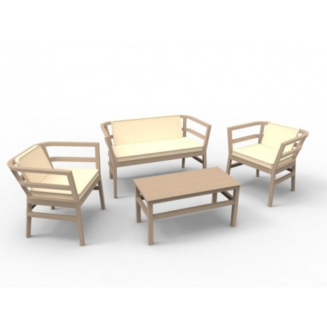 Click Clack set for outdoor in polypropylene including 1 double sofa, 2 armchairs, 1 table and 3 cushions.
