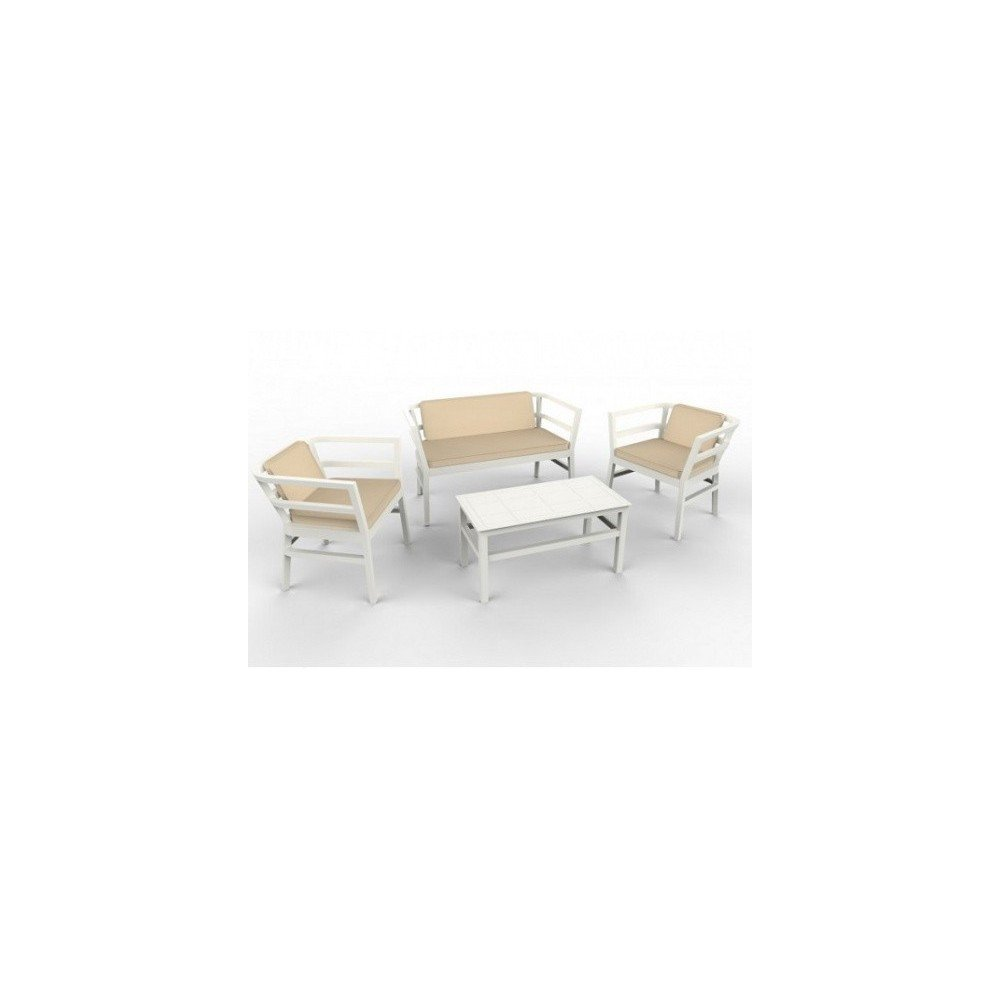 Outdoor Click Clack set in polypropylene including 1 double sofa, 2 armchairs, 1 table and 3 cushions.