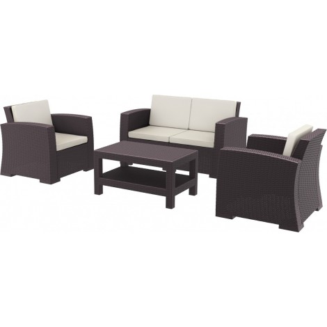 Monaco set in polypropylene including 1 double sofa, 2 armchairs, 1 table and 3 cushions