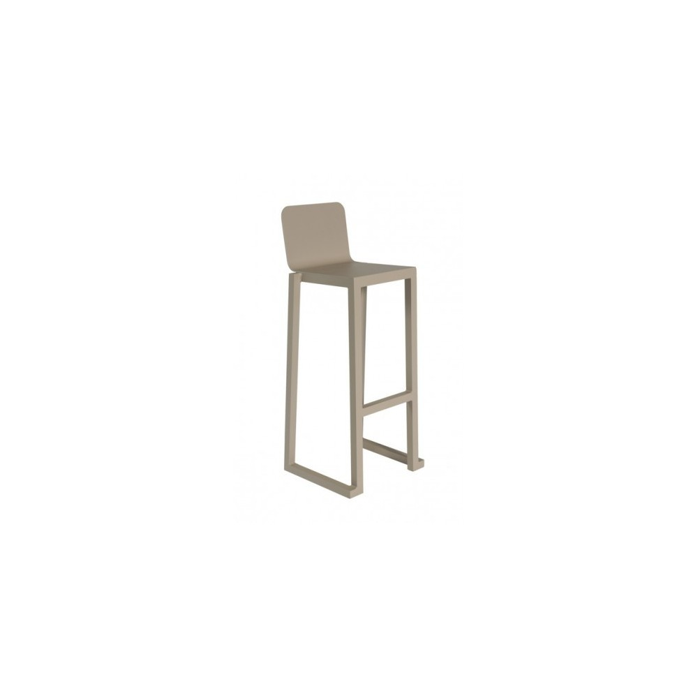 Stackable Barcino outdoor stool in anodized and painted aluminum available in two finishes