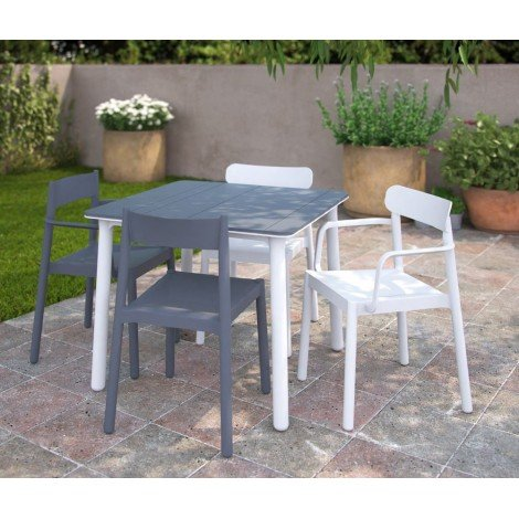 Polypropylene Noa outdoor table 90 x 90 cm available in three finishes