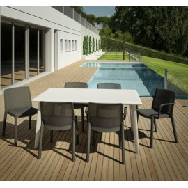 New Dessa outdoor table with steel structure and polypropylene top available in 2 sizes
