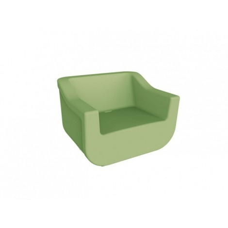 Club outdoor armchair in polyethylene with waterproof structure and available in several colors