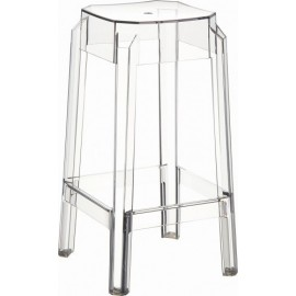 Fox outdoor stool in transparent and stackable polycarbonate