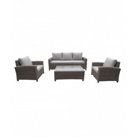 Orient outdoor set consisting of 1 triple sofa, 2 armchairs, 1 table and 8 cushions. Polyester pillow set