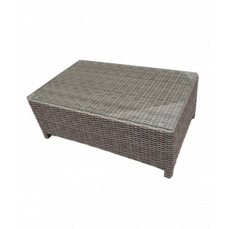 Orient outdoor coffee table with aluminum structure and polyester resin shell