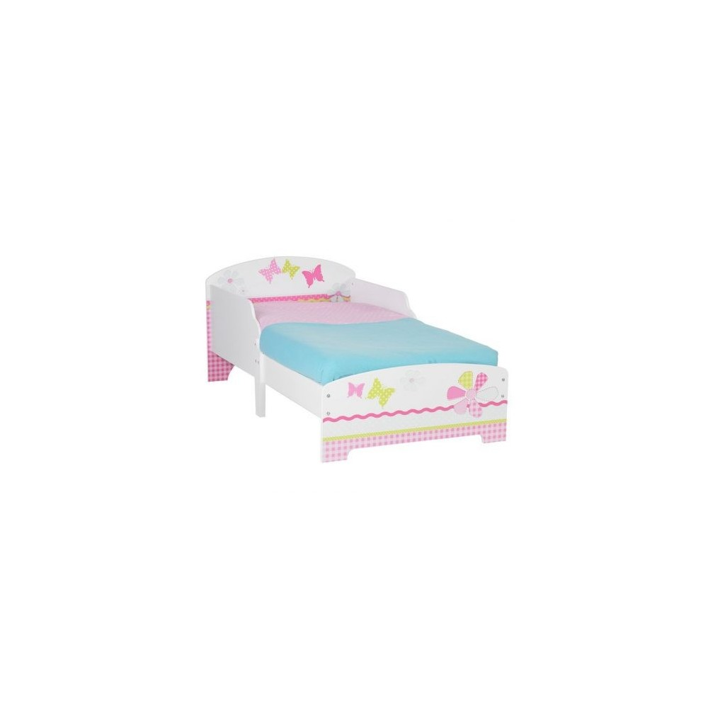 Wooden bed for baby girl including a net and not a very colorful and resistant mattress