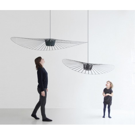 Vertigo suspension lamp with metal diffuser and black wiring available in 2 sizes