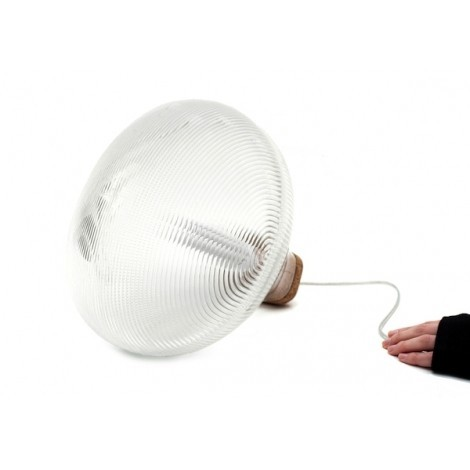 Tidelight table lamp in cork and blown glass structure