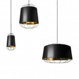 Suspension lamp Lantern in metal wire and pvc lampshade available in three different sizes