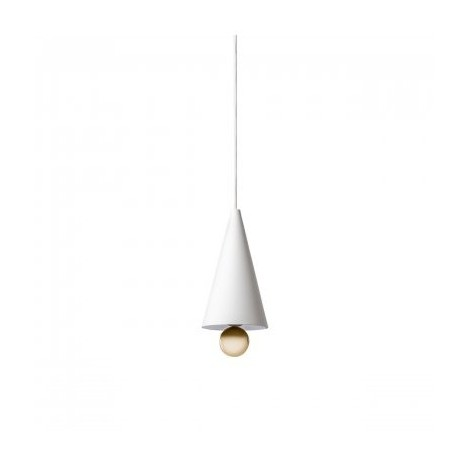 Cherry suspension lamp in aluminum with gold-colored plexiglass pendant. Available in two sizes