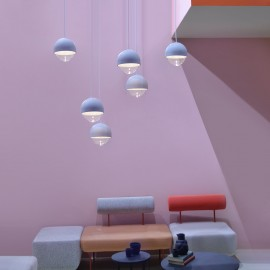 Cast suspension lamp with concrete and transparent glass frame