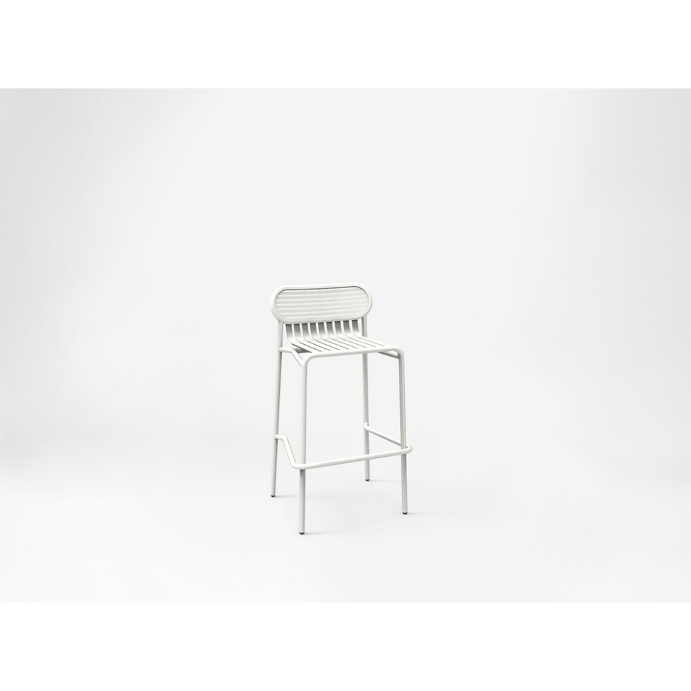 WEEK END outdoor stool in tubular aluminum and slatted seat. Available in many finishes