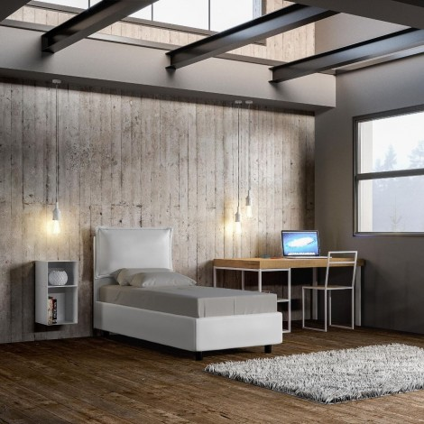 Adina single bed in wood covered with imitation leather available with container or without bed base and not mattress