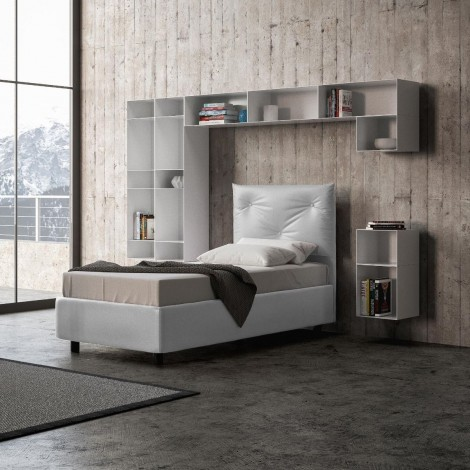 Appia single bed with wooden structure and capitonnè covered with imitation leather covering and with or without storage